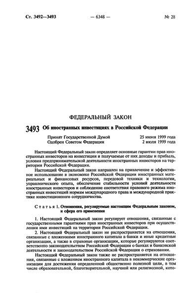 Федеральный закон 160-ФЗ Об иностранных инвестициях в Российской Федерации