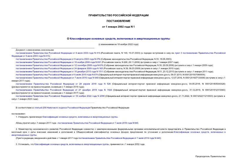 Постановление 1 О Классификации основных средств, включаемых в амортизационные группы