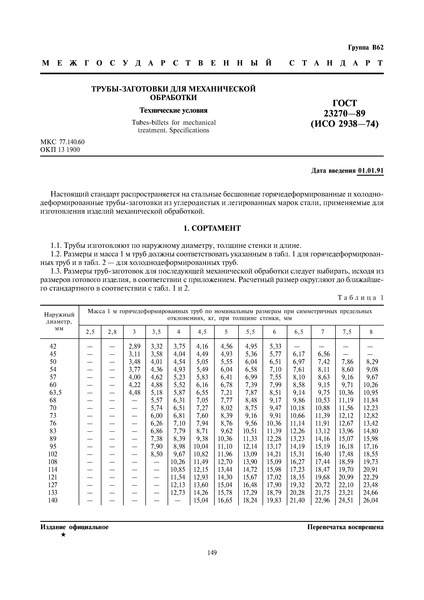 ГОСТ 23270-89 Трубы-заготовки для механической обработки. Технические условия