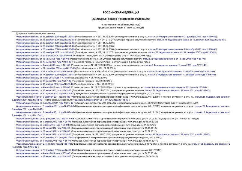 Кодекс 188-ФЗ Жилищный кодекс Российской Федерации