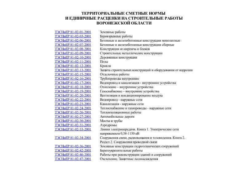 ТЭСНиЕР Воронежская область 2001 Территориальные сметные нормы и единичные расценки на строительные работы