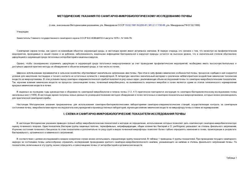 МУ 1446-76 Методические указания по санитарно-микробиологическому исследованию почвы