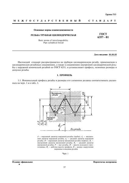 ГОСТ 6357-81 Основные нормы взаимозаменяемости. Резьба трубная цилиндрическая