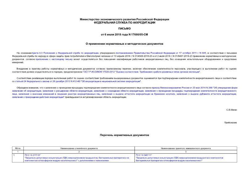 Письмо 17666/05-СМ  О применении нормативных и методических документов